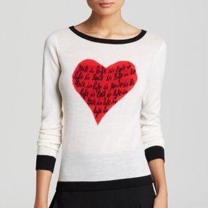 Diane Von Furstenberg Jillna Heart Sweater Top L